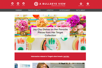The front page of Target's image-rich blog, A Bullseye View.