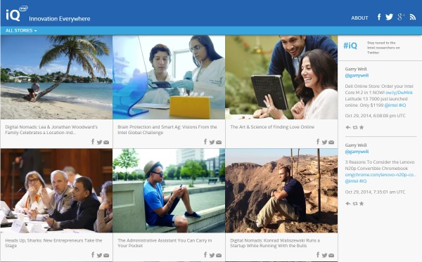 Intel iQ Homepage